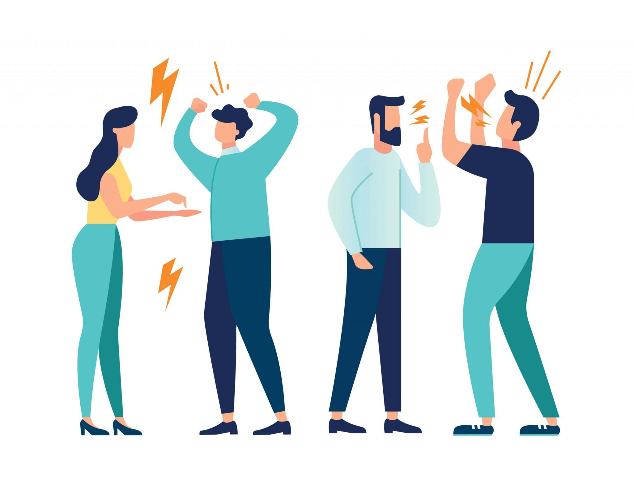 Vector Illustration Design Concept on White Background. A Set of a Couple of People Quarrel and Swear. Aggressive People Yell at Each Other. Design Graphics in a Flat Stylish Style.
