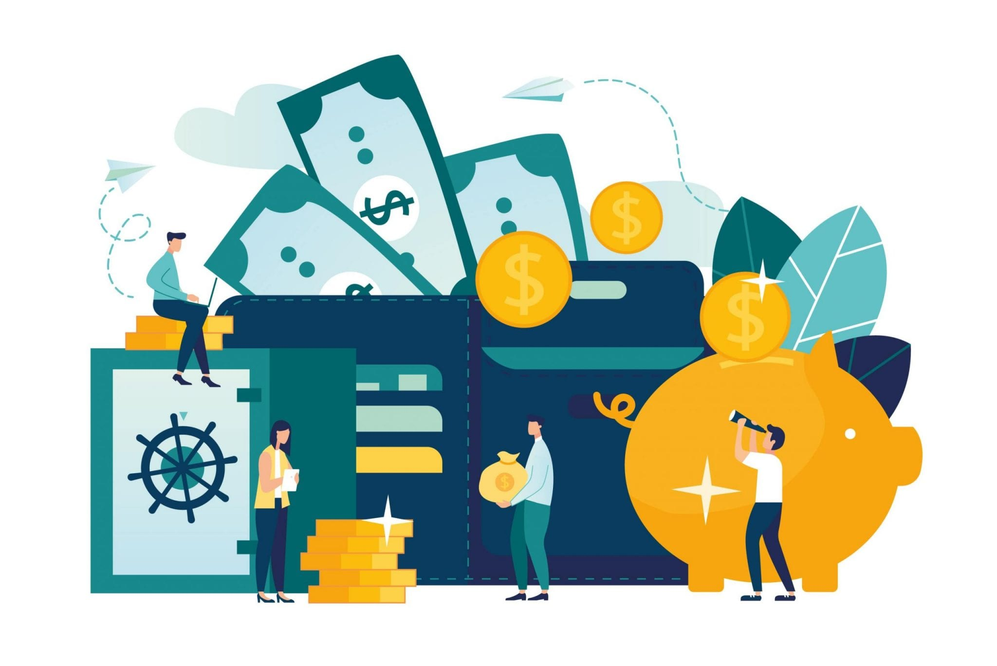 Vector Flat Illustration, a Large Piggy Bank in the Form of a Pig on a White Background, Open Purse, Financial Services, Small Bankers Are Engaged in Work, Saving or Accumulating Money, a Box of Coins