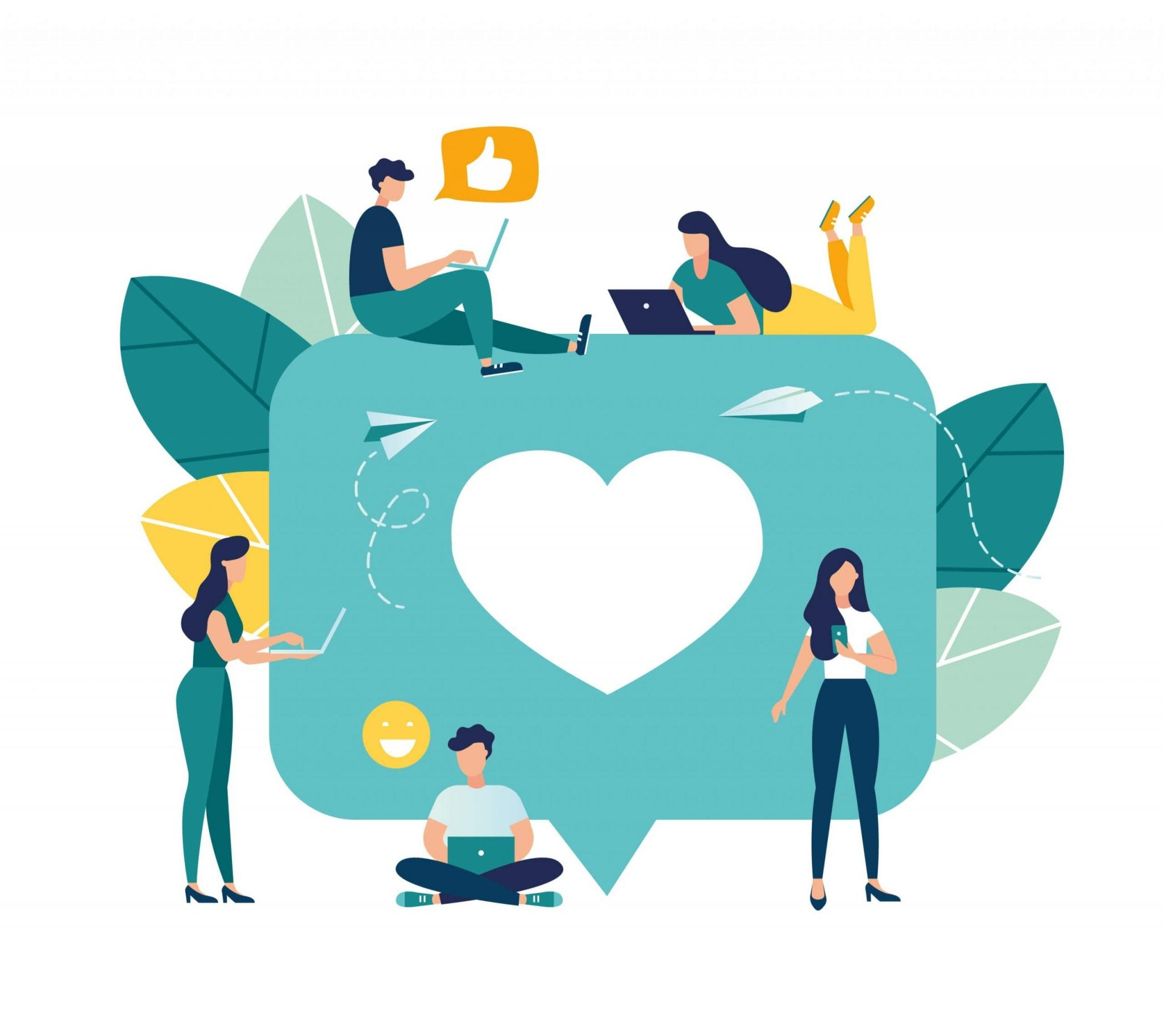 Vector Colorful Illustration of Communication via the Internet, Social Networking, Chat, Video, News, Messages, Web Site, Search Friends, Mobile Web Graphics.
