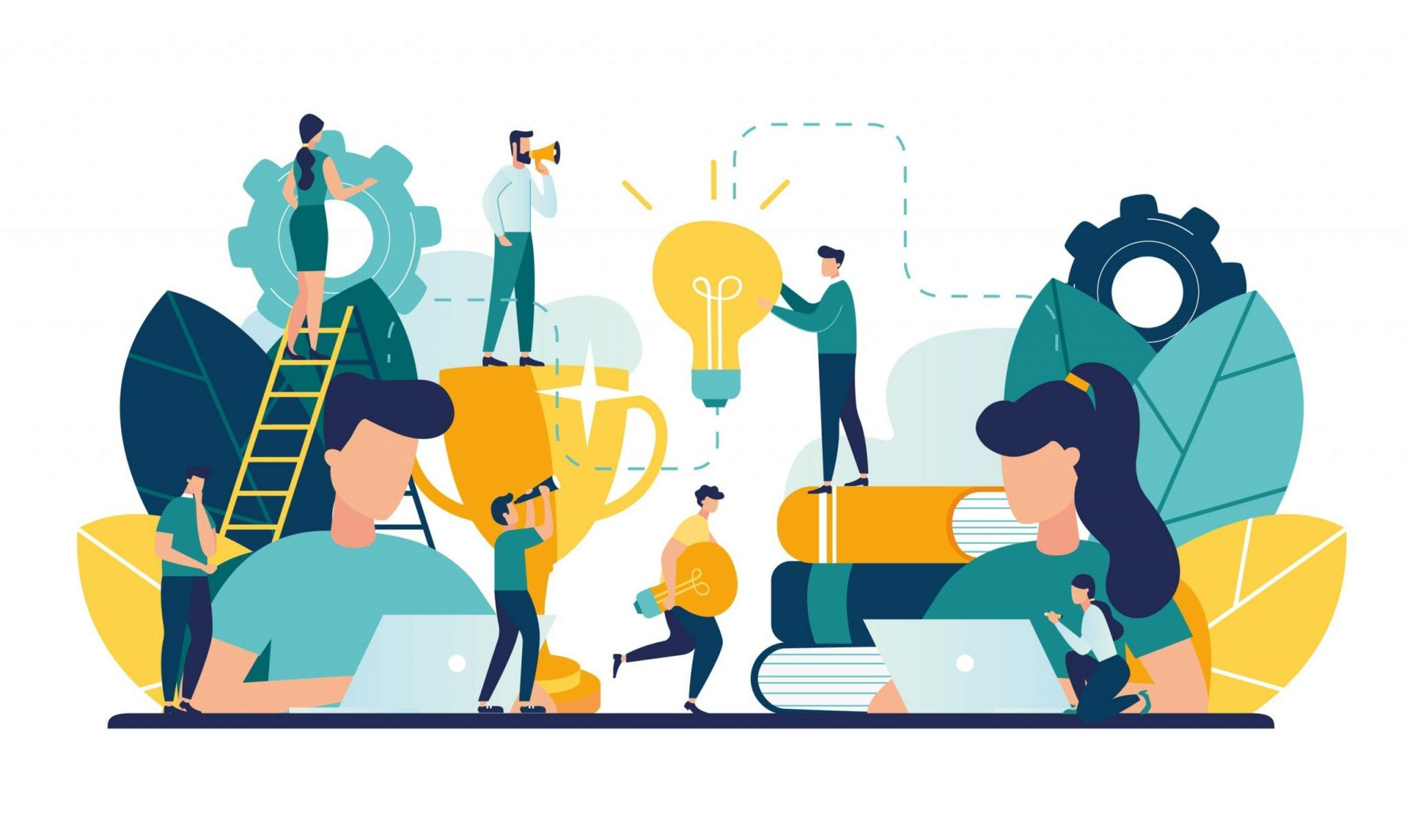 Vector Creative Illustration of Business Graphics, the Company is Engaged in Joint Construction, Raising a Career to Success, the Abstract Person's Head, Filled With Ideas of Thought and Analysis.