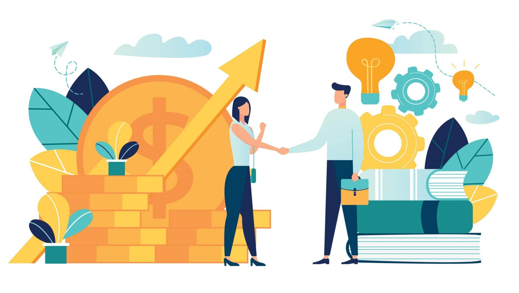 Vector Illustration on White Background. Business Porters a Successful Team. The Investor Holds Money in Ideas, Financing of Creative Projects, Woman and Man Business Handshake