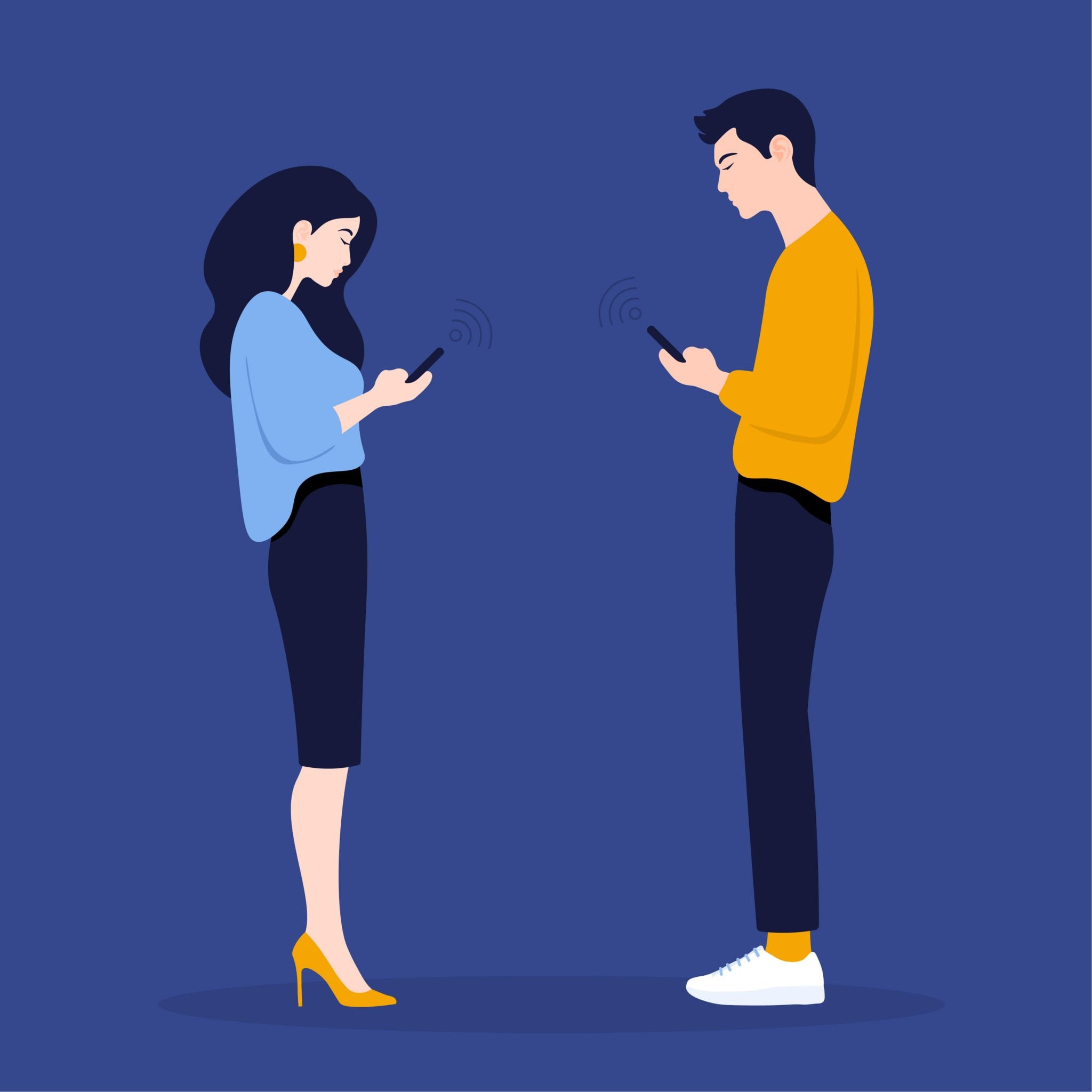 A Woman and a Man Stand in Profile and Look in Their Phones