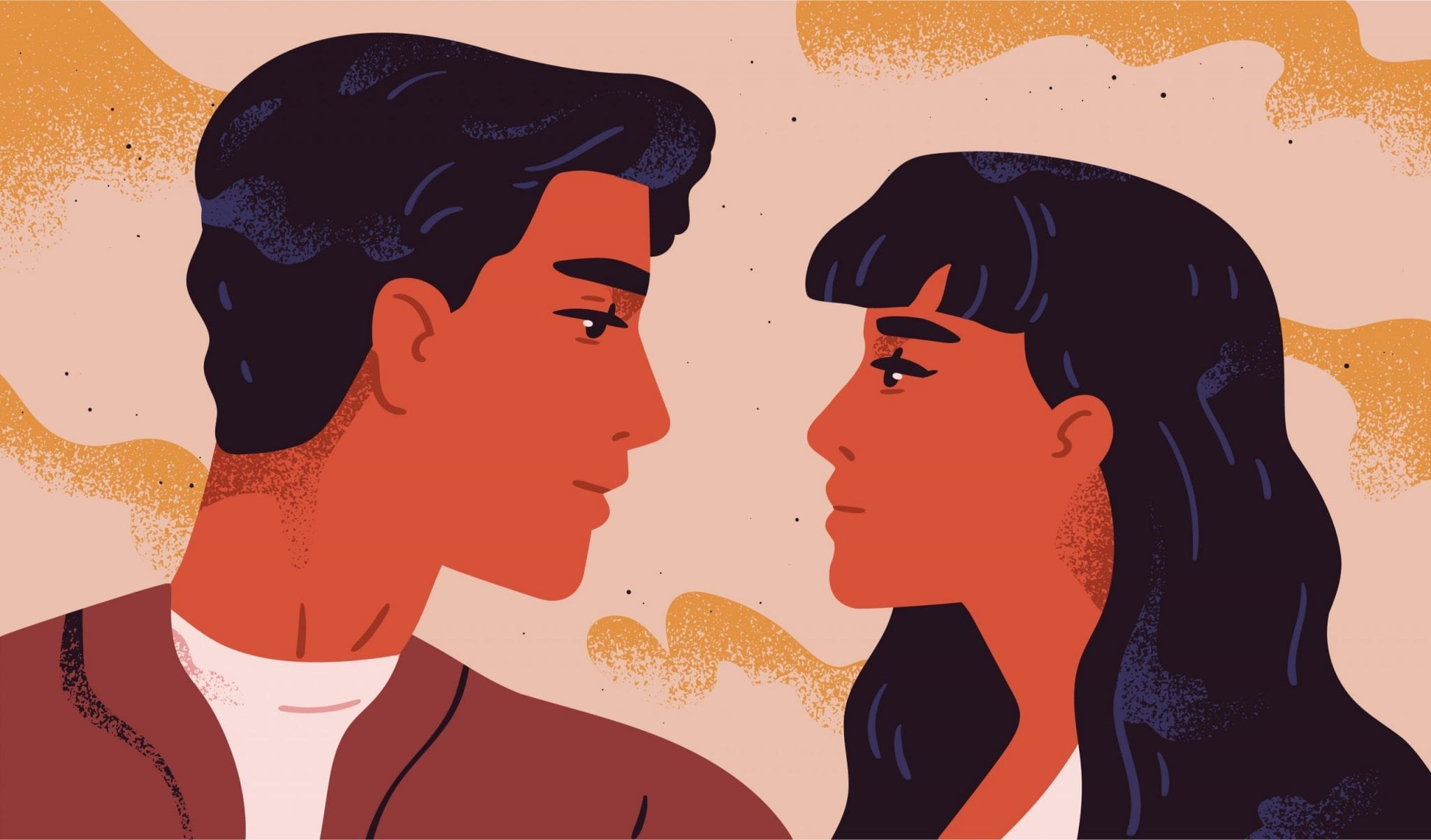 Happy Adorable Couple in Love. Portrait of Young Man and Woman Looking at Each Other. Pair of Romantic Partners on a Date. Boyfriend and Girlfriend