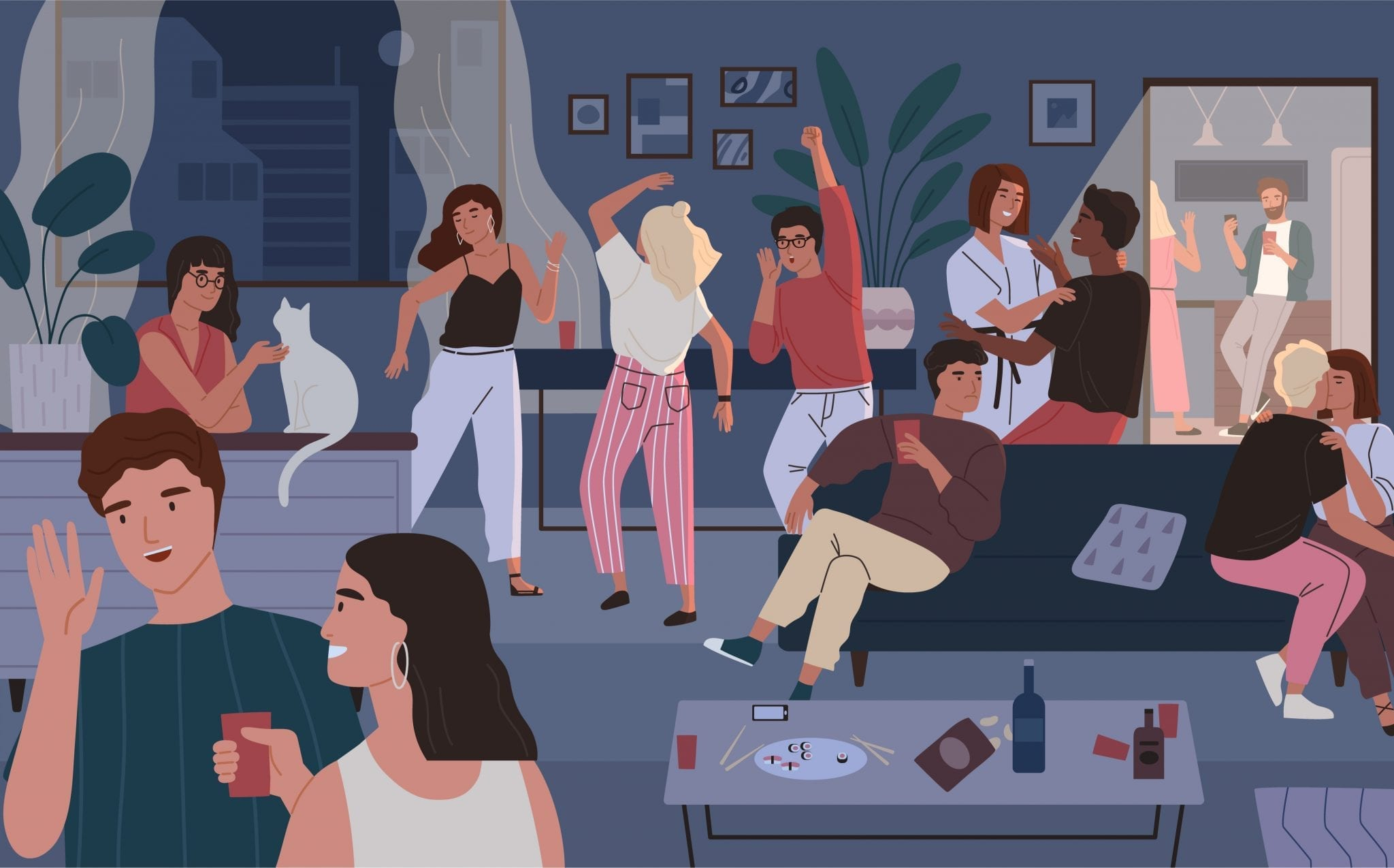 Happy Friends at Home Party. Apartment or Living Room Full of People Having Fun, Dancing and Talking. Young Cute Men and Women Spending Time Together at Night
