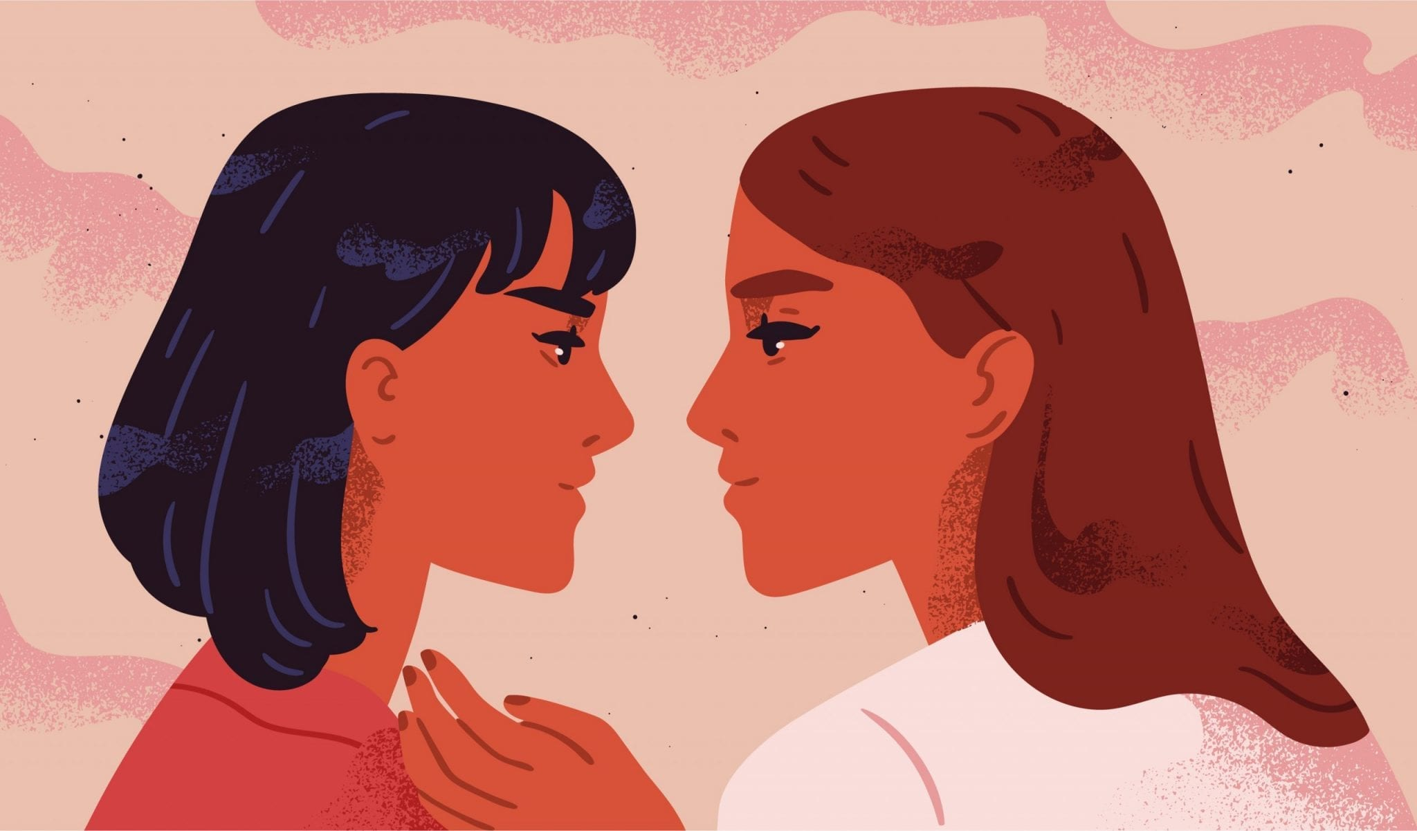 Portrait of Lesbian Couple Flirting With Each Other. Homosexual Romantic Partners on Date. Concept of Love, Passion and Homosexuality