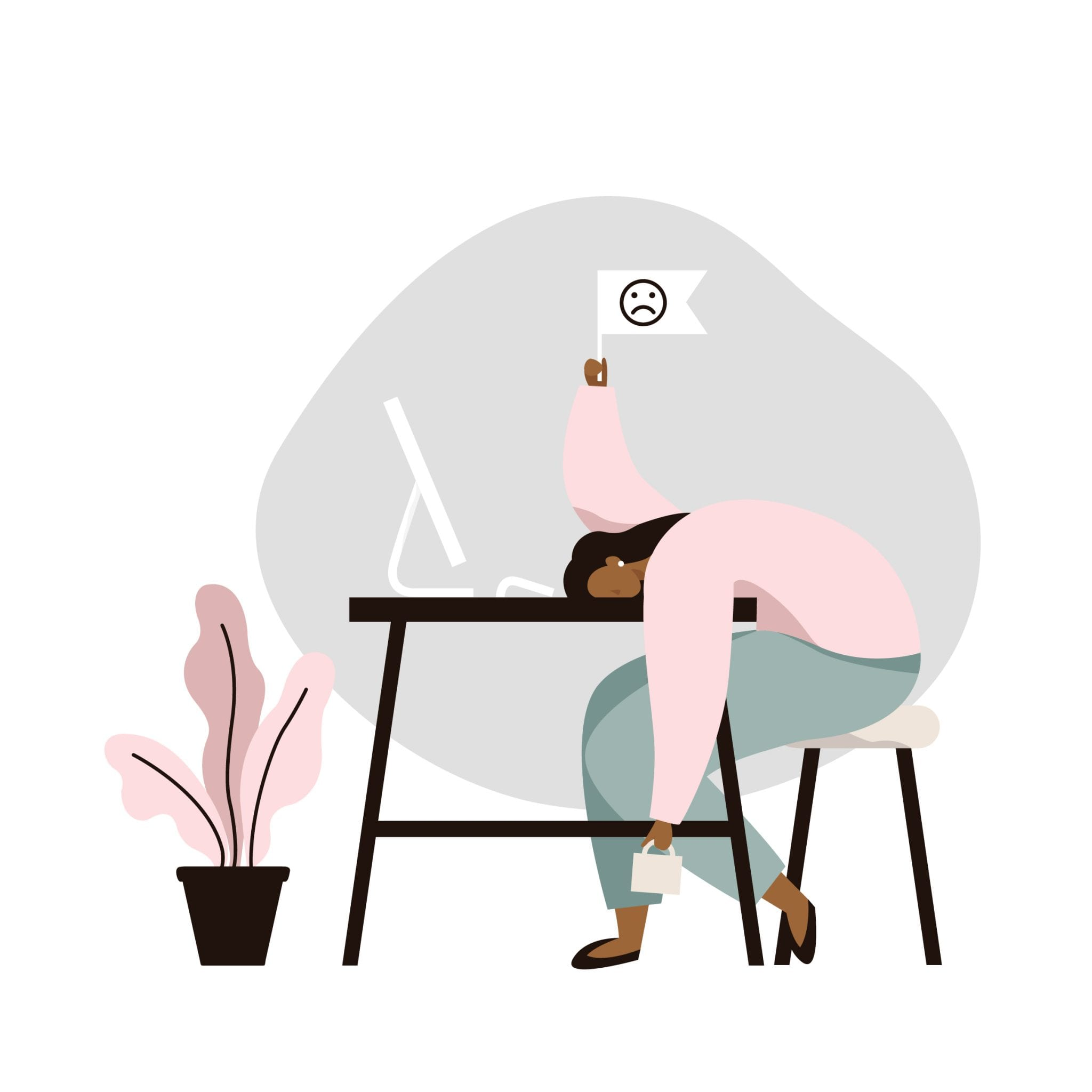 Burnout. Tired Young Woman Slumped Over a Table. Bad Day or Mental Health Problem