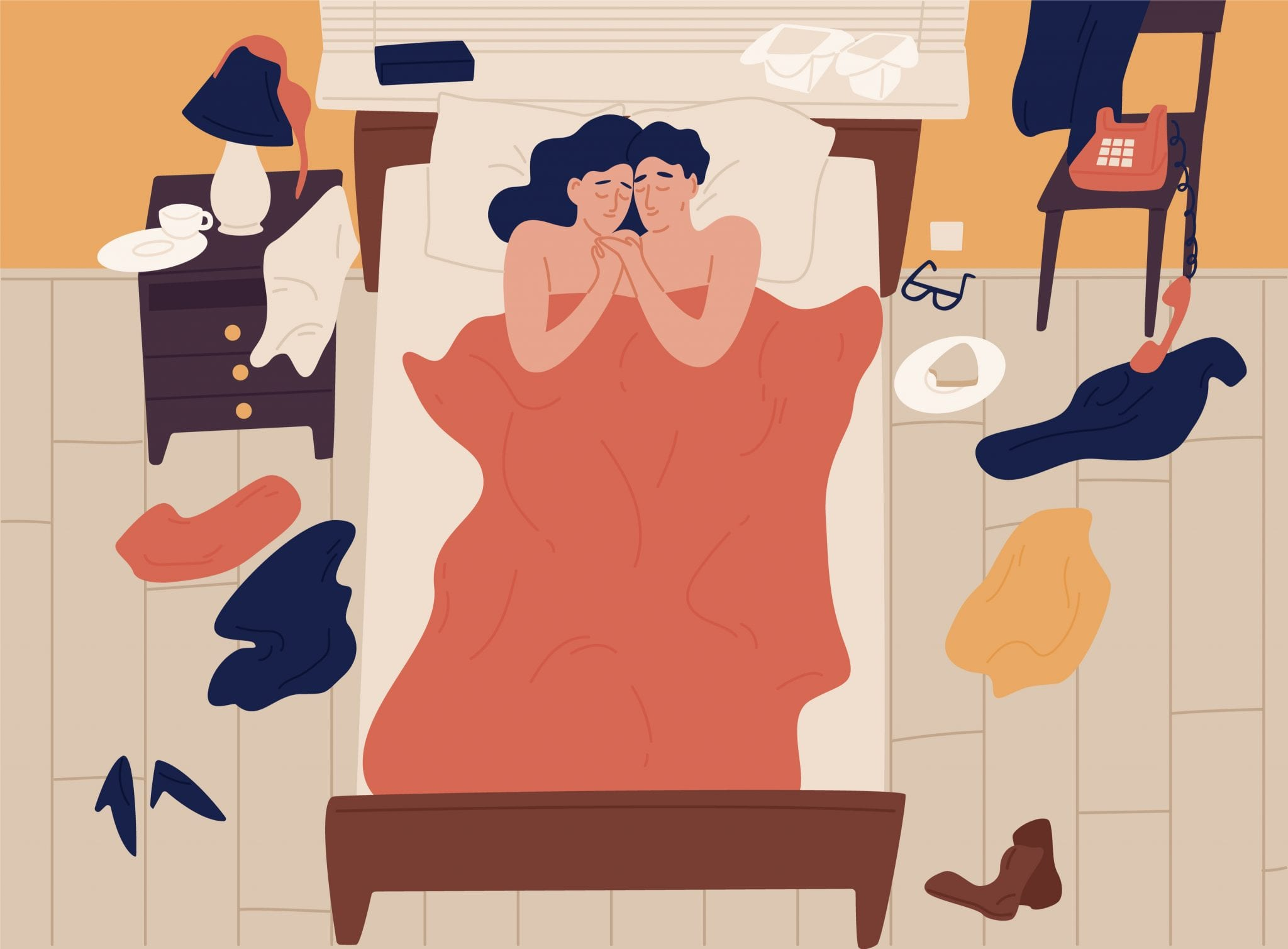 Couple Lying in Bed Together Illustration