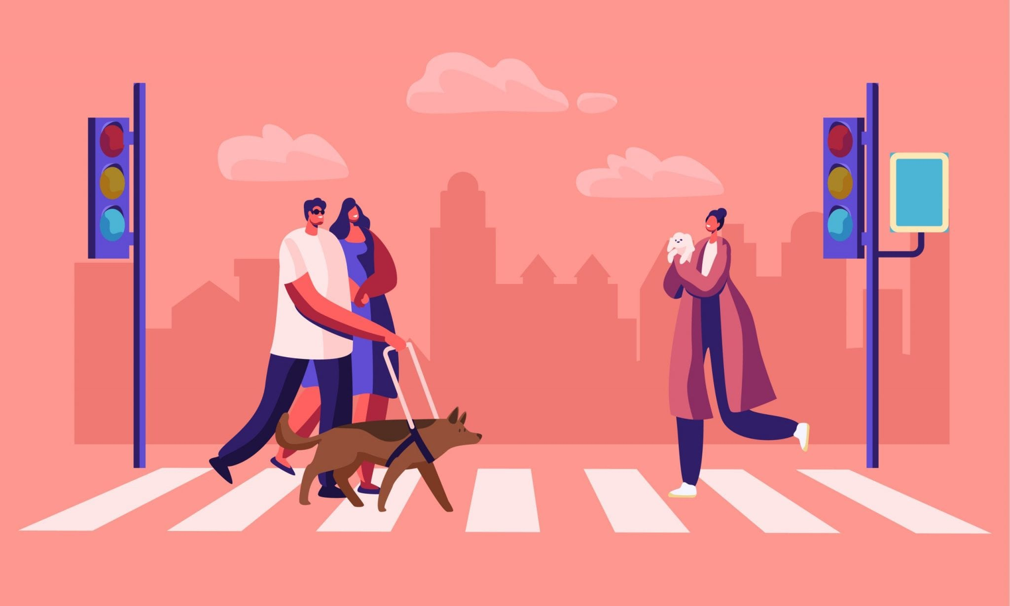 Disabled and Healthy Pedestrians With Pets Crossing Road Interchange in City, Blind Man Walking With Guide Dog and Woman Hold His Hand. Characters on Street Crosswalk.