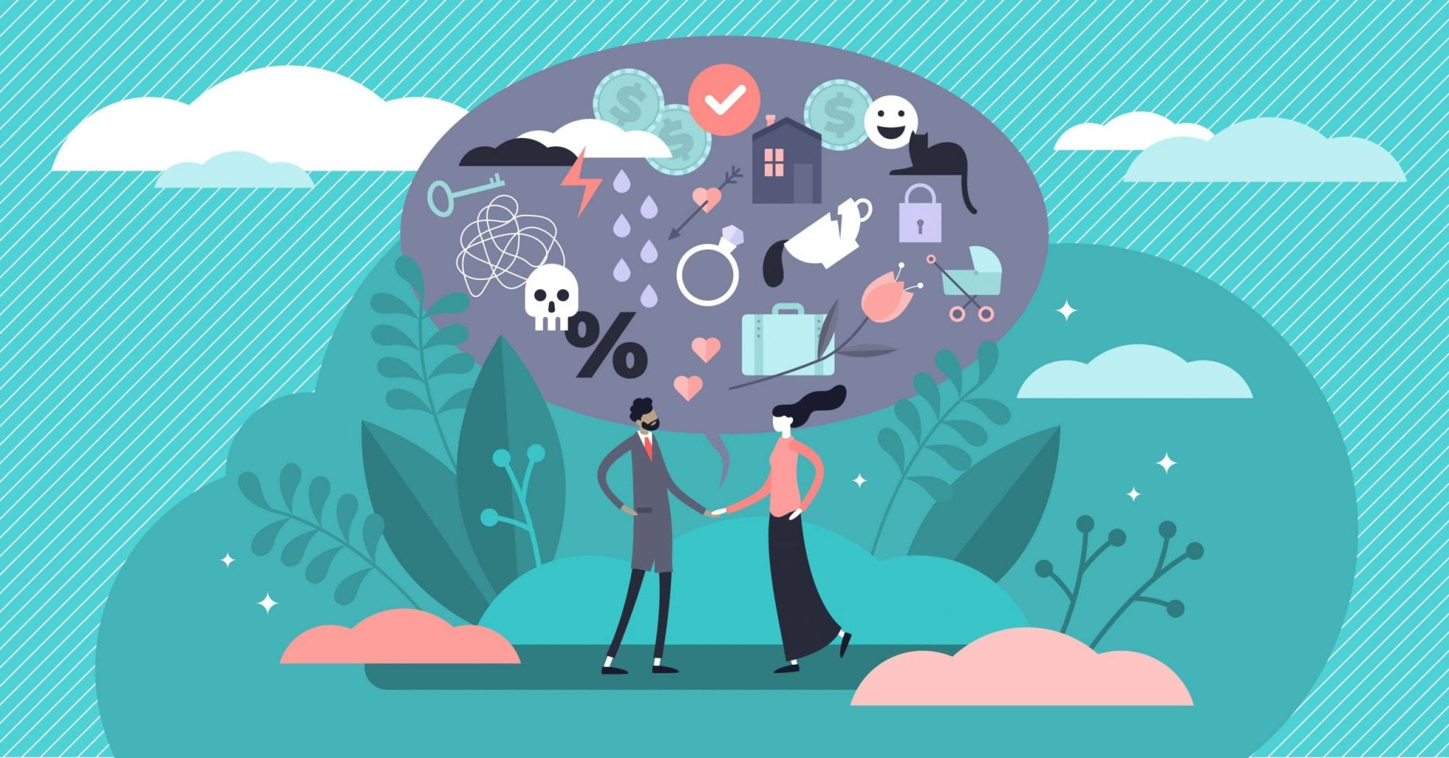 Relationship Vector Illustration, Flat Tiny Various Feelings Person Concept. Abstract Mutual Emotions and Link Type Between Friends, Siblings or Lovers. Psychological Connection Diversity Collection