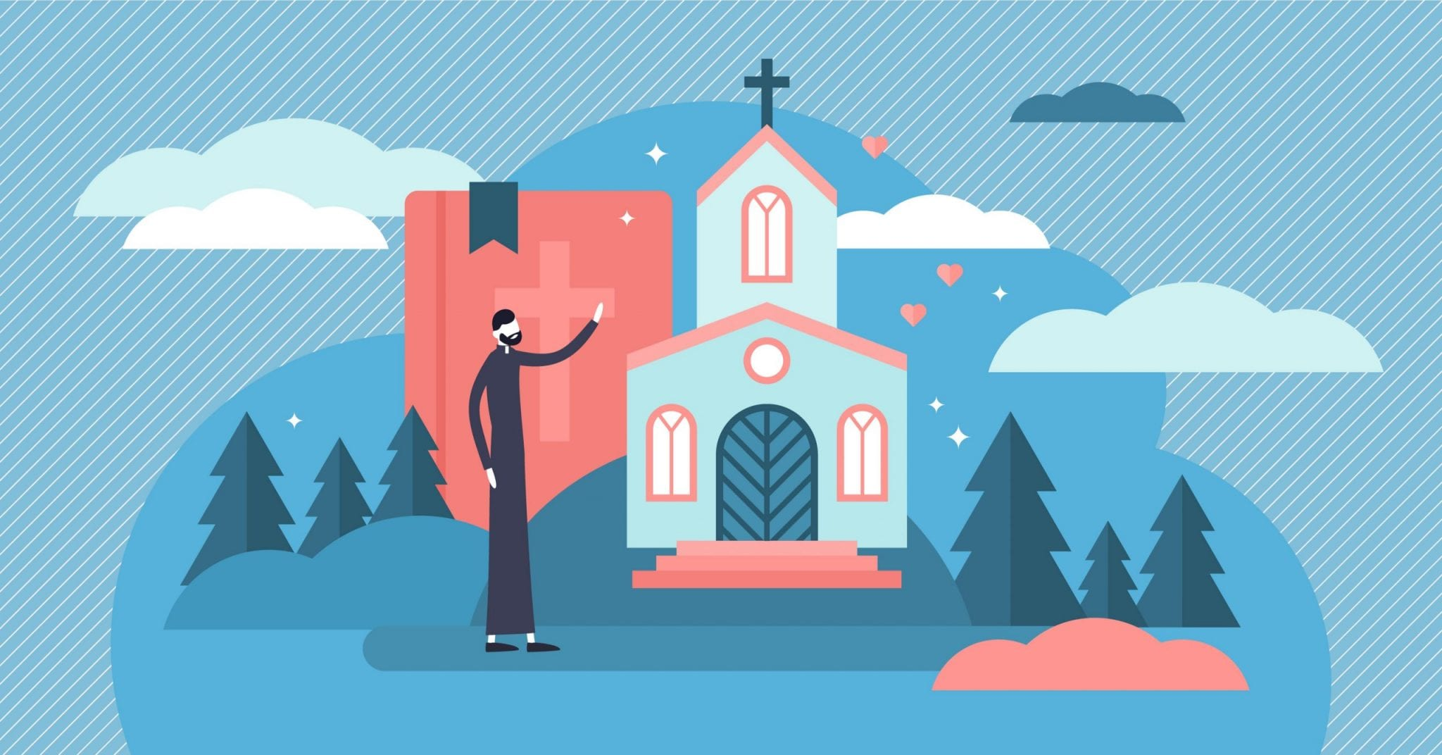 Christianity Vector Illustration. Flat Tiny Holy Church Priest Persons Concept. Sacred Theology Culture, Esoteric Ethnic Tradition to Pray Jesus and God. Symbolic Catholic Evangelist Belief and Faith.