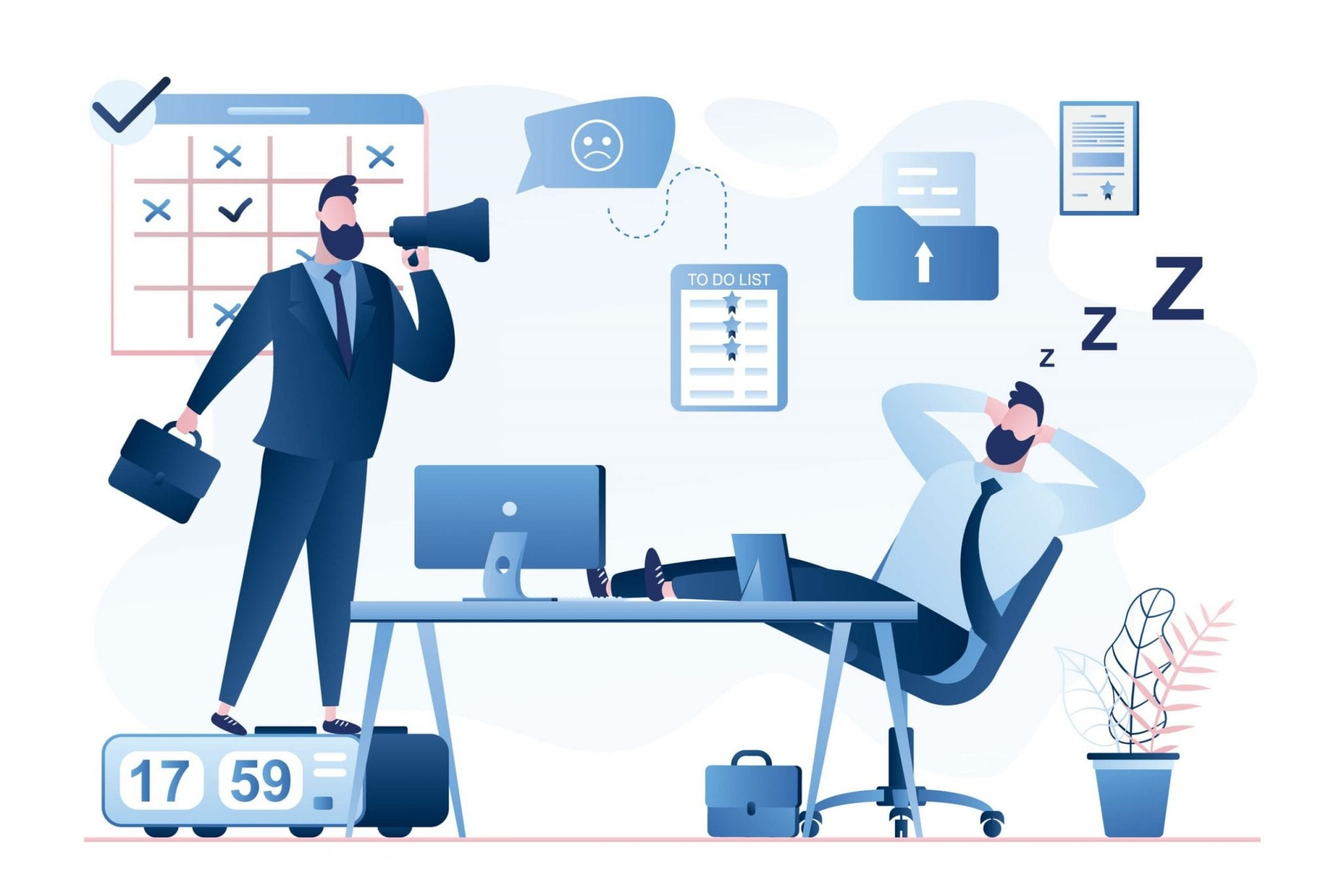 Boss Businessman With Megaphone and Office Worker Sleeps in the Workplace. Deadline and Time Management Concept Illustration