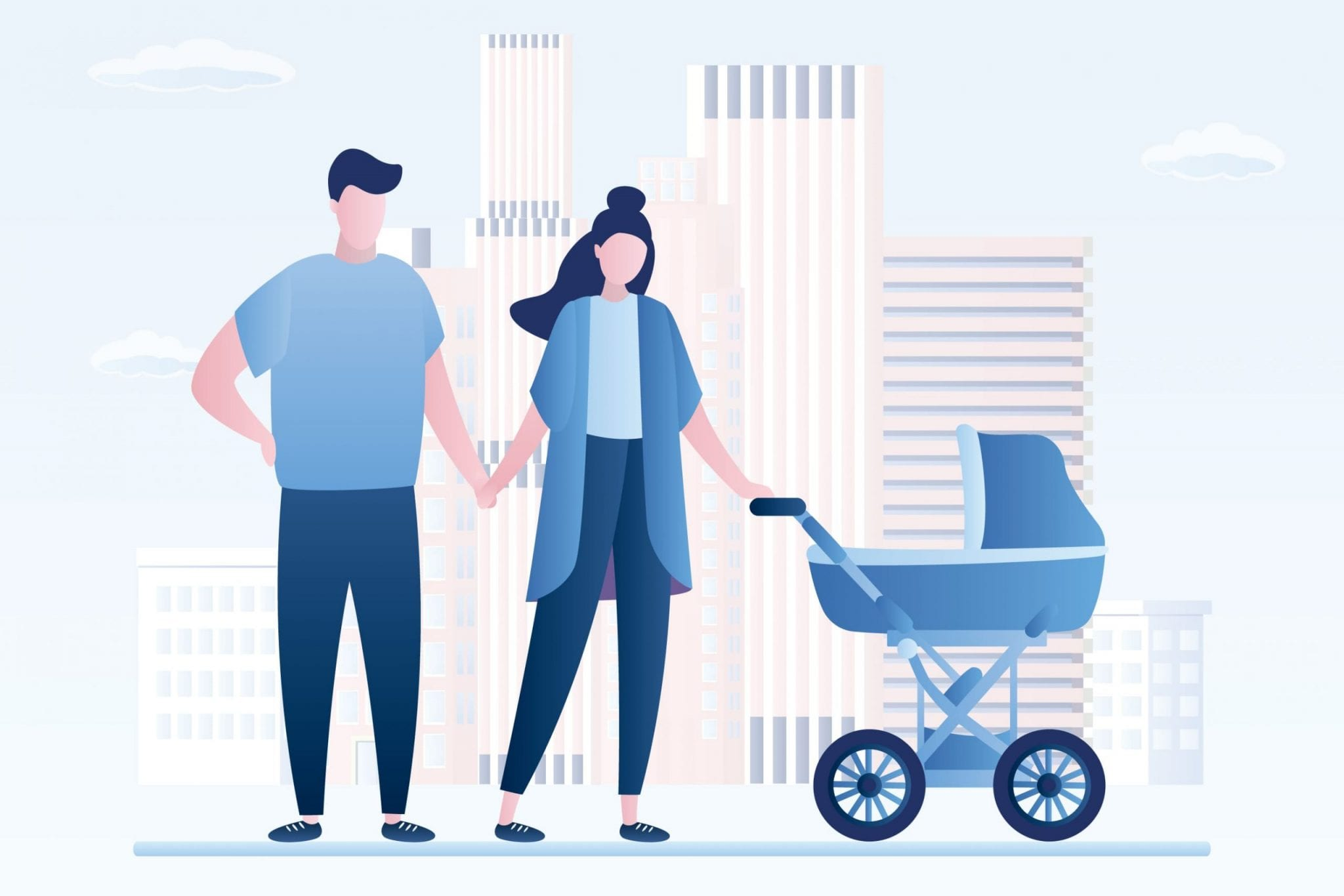 Couple With Baby Stroller Illustration