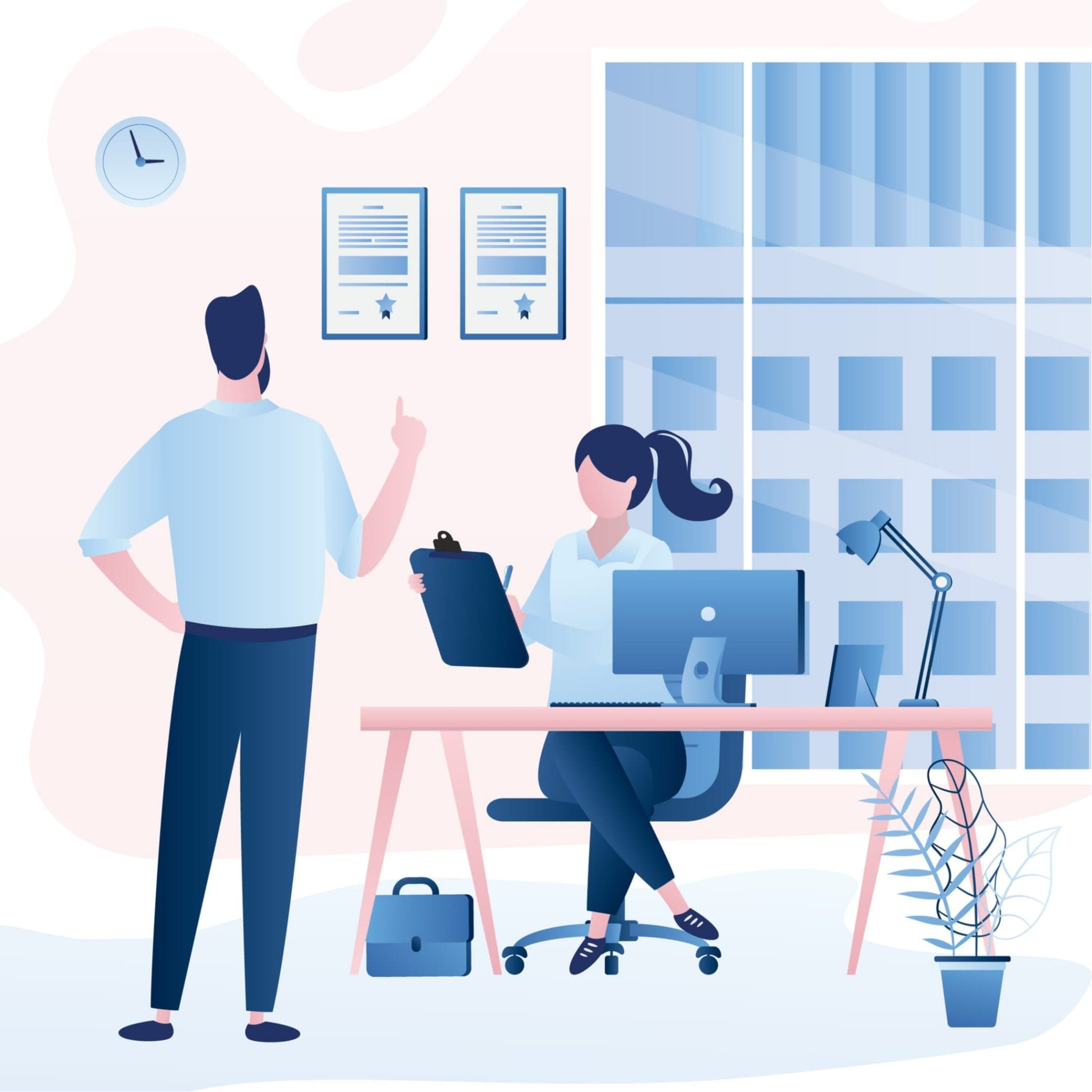 Business People Talking. Colleagues Communicate at Work. Male Boss Tells Employee Instructions. Modern Business Office Room Interior Illustration.