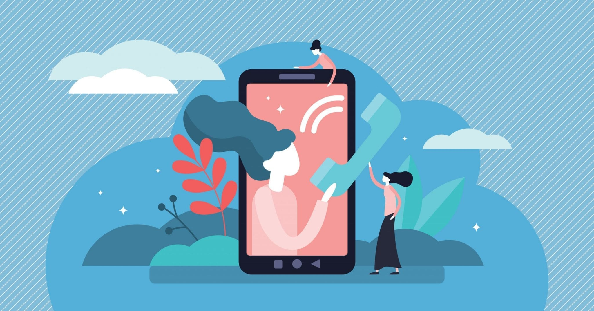 Call Vector Illustration Cellphone Communication Persons Concept