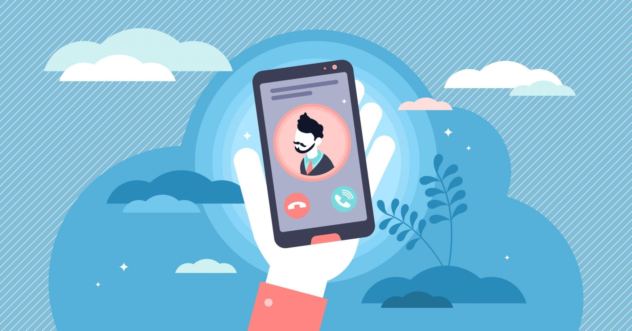 Incoming Call Concept Flat Tiny Person Vector Illustration. Hand Holding Phone to Pick Up Conversation. Mobile Screen With Male Contact Profile Avatar. Colleague or Boss Work or Private Communication.