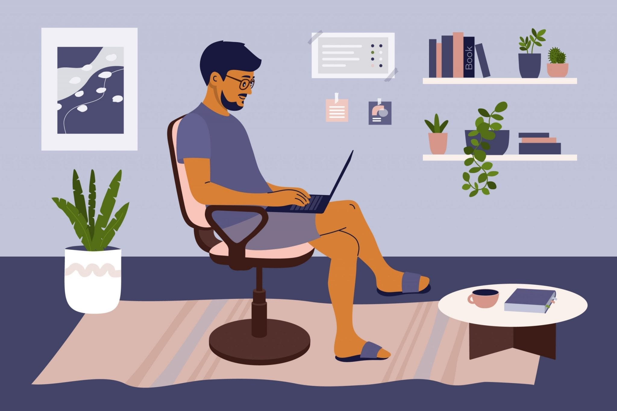 Man Using Laptop and Working from Home.