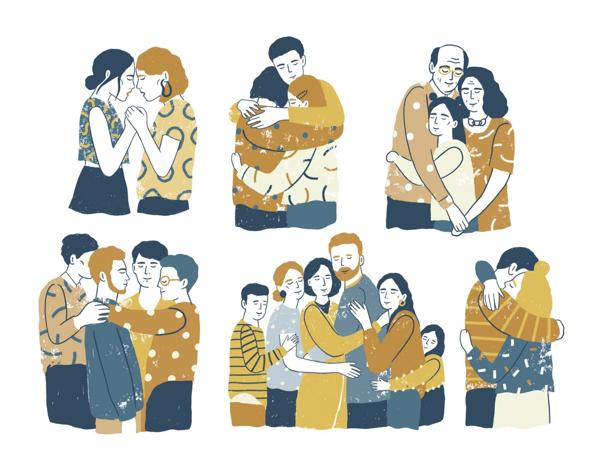 Diverse Families Embrace Each Other